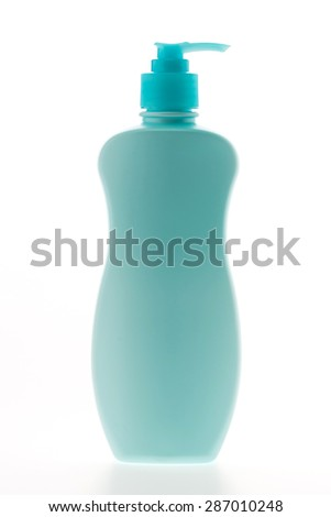 Blank beauty cosmetic care lotion bottles isolated on white background
