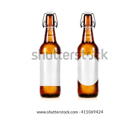 Blank beer bottle mockup without label, stand isolated. Clear alcohol beverage botle mock up with clipping path. Cold wet beer flask template front view. Brewery bottle label branding. Beer corporate. - stock photo