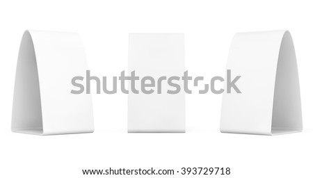 Blank Bent Promotion Stand on a white background - stock photo