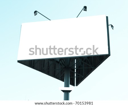 Blank big billboard over blue cloudy sky