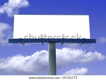Blank big billboard with blue sky and clouds - stock photo
