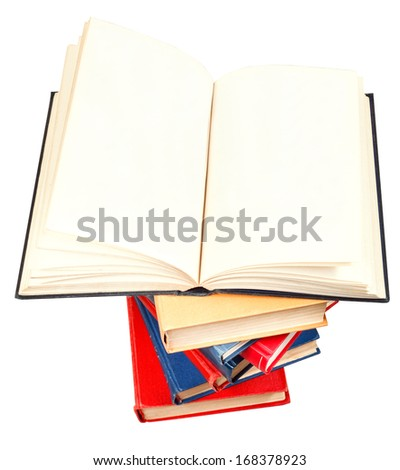 blank big open book on top of stack of books isolated on white background