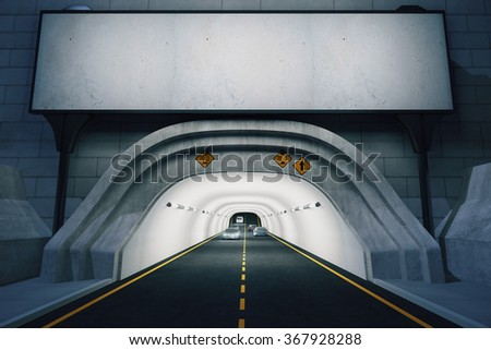 Blank billboard above the entrance to the tunnel at night, mock up 3D Render - stock photo
