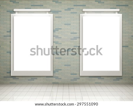 Blank billboard (advert) on empty wall with lights (city adverts) - stock photo