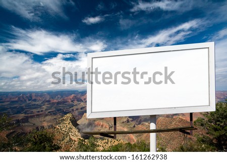 Blank billboard advertising sign at Grand Canyon National Park, Arizona - stock photo