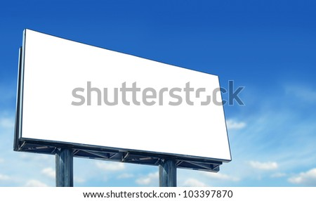 Blank billboard against blue sky, for more billboard visit our portfolio - stock photo