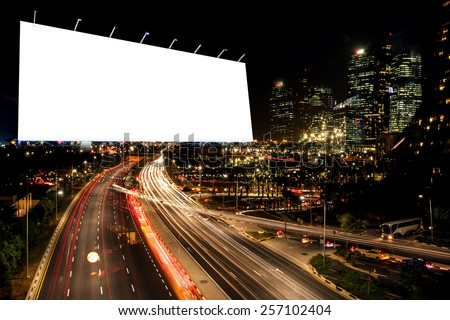 blank billboard at night time for advertisement. street light . - stock photo