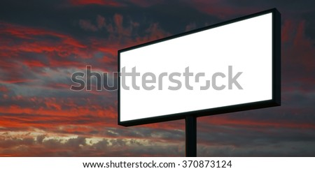 Blank billboard at sunset time ready for advertisement. 3d render - stock photo