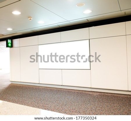 Blank billboard at the airport. - stock photo