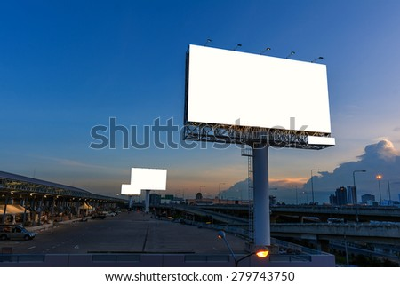 Blank billboard at twilight time for advertisement. - stock photo