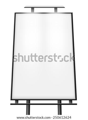 Blank billboard (city advert) isolated on white background - stock photo