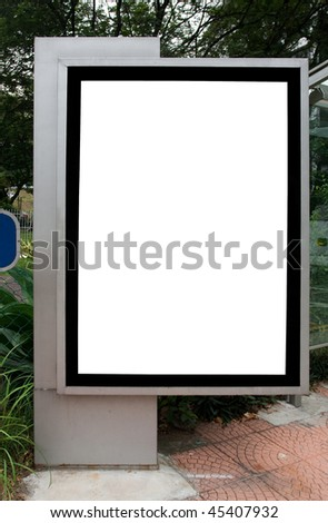 Blank billboard display at sidewalk with clipping path for your advertising - stock photo