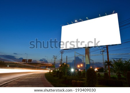 Blank billboard for advertisement at twilight