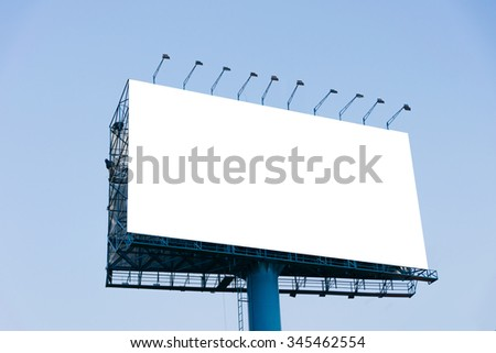 Blank billboard for advertisement, Background Blue Sky - stock photo