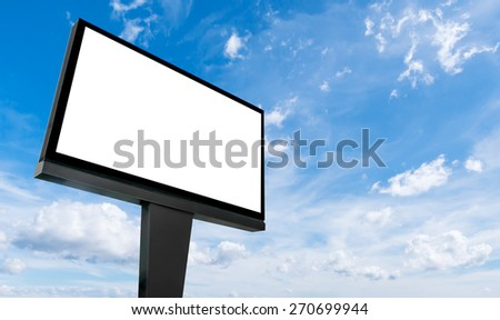 Blank billboard for advertisement isolated on white fluffy clouds in the blue sky