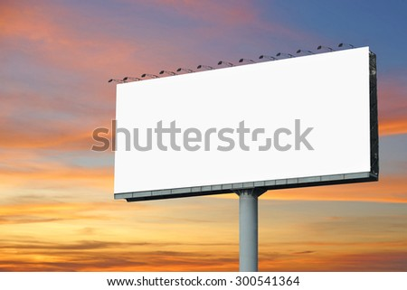 blank billboard for advertisement with beautiful twilight background