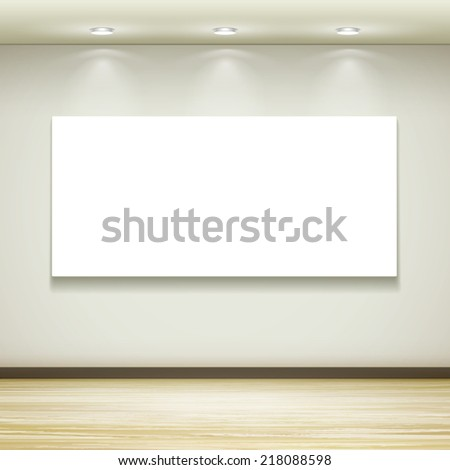blank billboard hanging on the wall with light