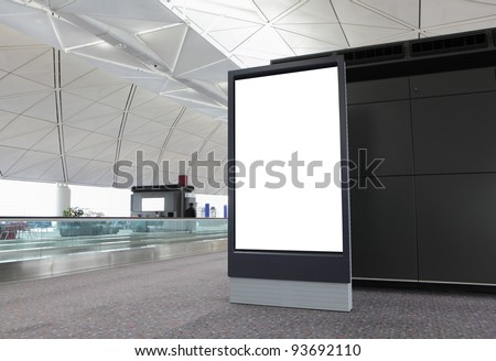 Blank Billboard in airport - stock photo
