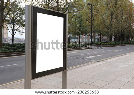 Blank billboard in bus stop, great copy space for your design, shot in London, United Kingdom, uk - stock photo
