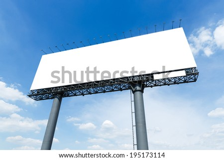 Blank billboard in city on blue sky and white cloud ready to use for advertisement