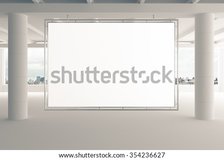 Blank billboard in empty white office with pillars and city view, mock up 3D Render