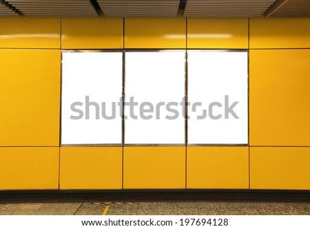 Blank Billboard in metro subway station shot in asia, hong kong - stock photo