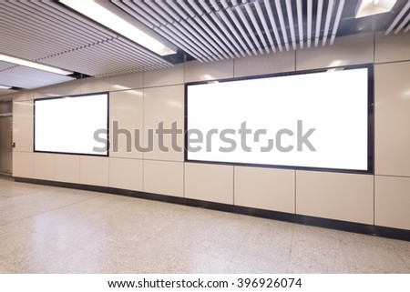 Blank Billboard in metro subway station shot in asia, hong kong, great for your copy space