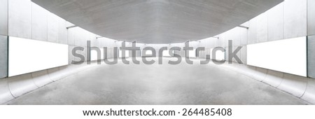 Blank billboard in modern interior hall. Useful for your advertising. - stock photo