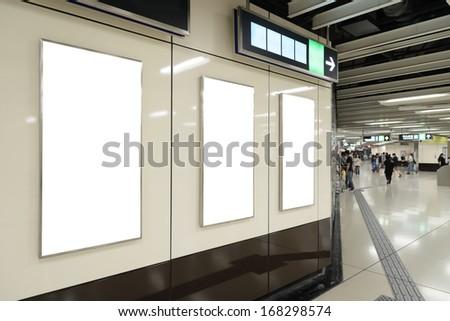 Blank billboard in public transport - stock photo