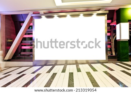 blank billboard in shopping mall - stock photo