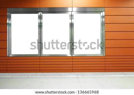 Blank billboard in subway - stock photo