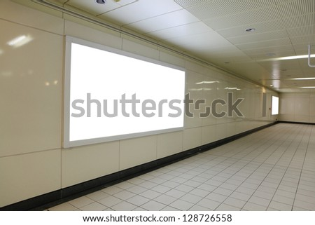 Blank billboard in subway metro station with copy space , shot in Taipei, Taiwan, asia - stock photo