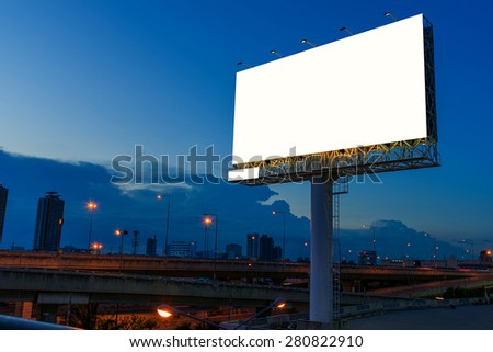 Blank billboard in twilight time for advertisement.