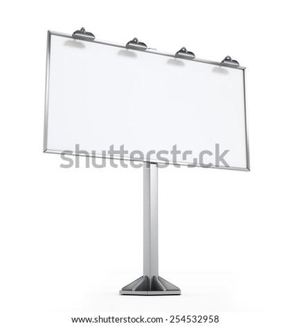 Blank billboard isolated on white background - stock photo