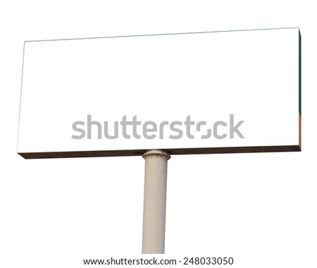 Blank billboard isolated on white background for your advertisement - stock photo