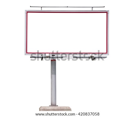 Blank billboard isolated on white background with clipping path