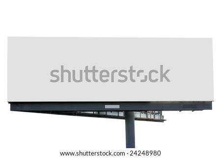 Blank billboard isolated over white background - stock photo