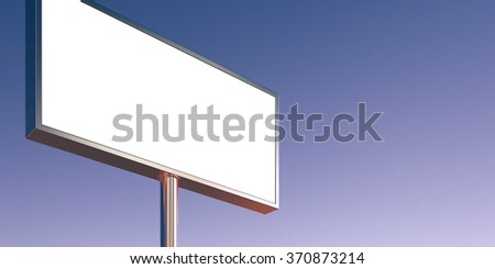 Blank billboard made of chrome metal at sunset time ready for advertisement. Wide, abstract background. 3d render - stock photo