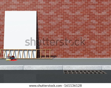 Blank Billboard near the Brick Wall with Ladder and Paint Cans - stock photo