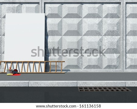 Blank Billboard near the Concrete Wall with Ladder and Paint Cans - stock photo