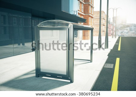 Blank billboard on a bus stop on sunny city street, mock up 3D Render - stock photo