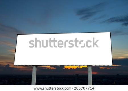Blank billboard on beautiful sky at twilight time - stock photo