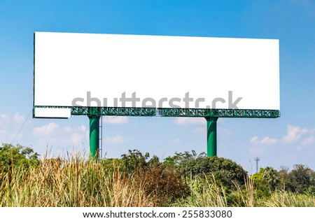 Blank billboard on blue sky ready for new advertisement - stock photo