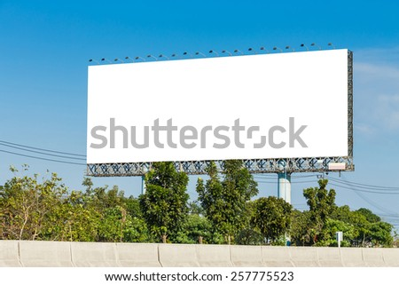 Blank billboard on blue sky ready for new advertisement