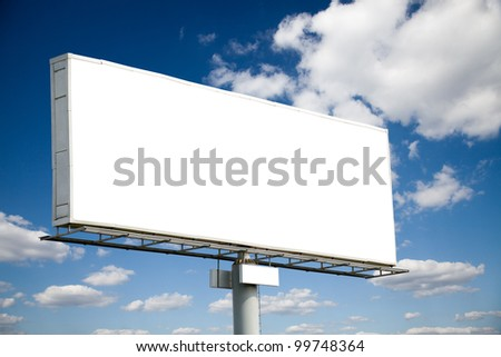 Blank billboard on blue sky useful for your advertising - stock photo