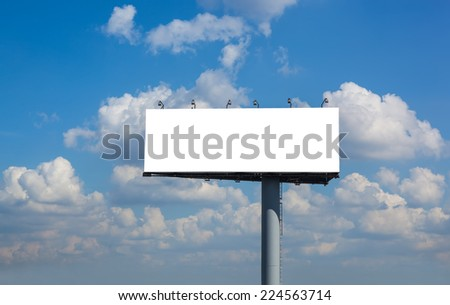 Blank billboard on blue sky with clouds for your advertisement