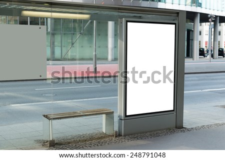 Blank Billboard On Bus Stop For Advertising In City - stock photo