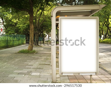 Blank Billboard on Bus Stop for your advertising situated