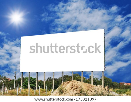 Blank billboard on local country with sunshine background