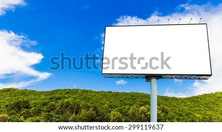 Blank billboard on mountain view with cloudy and blue sky background soft focus.